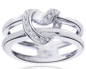 0.15 Carat Round Cut Diamond Crisscross Heart Ring 14K White Gold