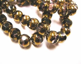 12pc 8mm copper plated faceted round glass beads-1072