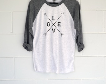Love Arrows Baseball T-Shirt.  Womens Top.  Shirt.  Tee.  Gift
