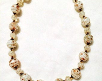White Gold Murano Glass Necklace - Choker 1950s