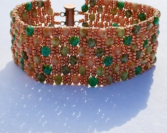 Shades of Copper Tan Brown Green Turquoise Beadwoven Cuff Bracelet