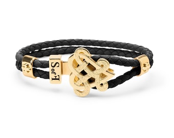 Eternity Love Bracelet Gold with Black Leather  (free shipping)