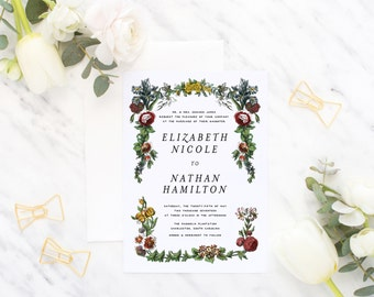 Printable Wedding Invitation Suite / Vintage Botanicals / Wedding Invite Set - The Vintage Garden Suite