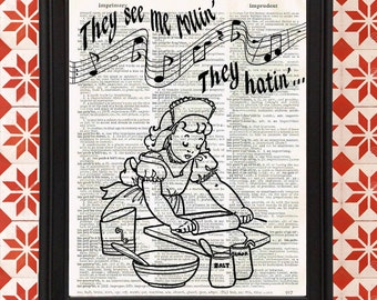 They See Me Rollin Baking Rolling Pin Retro Kitchen home decor Gifts for Mom Vintage Dictionary Page Funny Wall Art Print Upcycled Recycled
