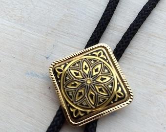 Spanish vintage Damascene tie necklace, Toledo Work