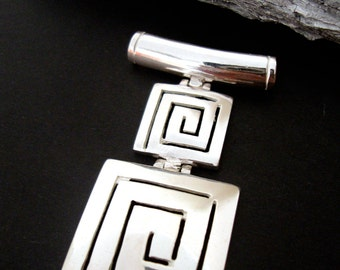 Sterling Silver 925 Ancient Greek Double Eternity Key Meander Square Greek Pendant  , Greek Jewelry , Griechischer Anhänger , Pendentif grec