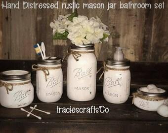 Distressed mason jar 5 piece bathroom set or 3 piece canister set