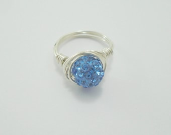 Crystal Ring, Blue Crystal Ring, Blue Ring, Bling Ring, Crystal Cluster Ring, Crystal Stacking Rings, Sparkly Ring, Crystal Wire Ring