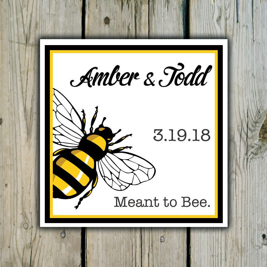Square Custom Honey Bee Favor Labels / Stickers - Personalized Honey ...