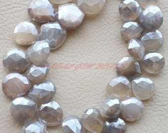 8.50 Inch Strand, Mystic Coated Grey Moonstone Briolettes, Grey Moonstone Faceted Heart Shape Briolettes, 13-17 MM, Moonstone Beads