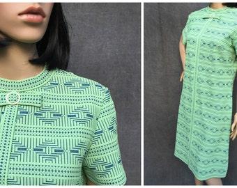 60's R&K Knits Green Mod Dress - Seafoam Green and Navy Blue Geometric Pattern Size M/L