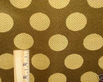 GOLD Olive Green Satin  POLKA DOT Upholstery Fabric, 08-57-09-057