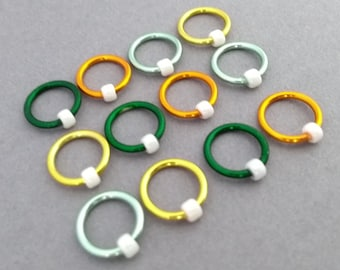 Ring Markers, non snag stitch markers, Circle Os place holders, Citrus notions for knitting, light weight stitchmarkers with pot