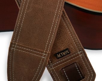 Simply Classy Distressed Brown Leather Guitar Strap