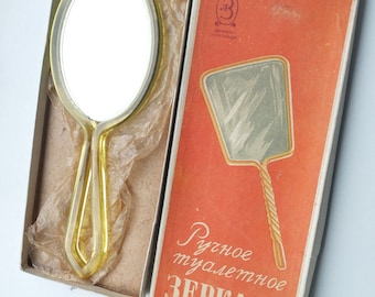 1950s Soviet Russian Vintage HAND MIRROR in Original Box made in USSR