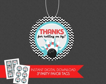 Chevron Retro Bowling Birthday Party Thank You Favor Tag - INSTANT DOWNLOAD
