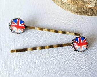 2 x Faded Union Jack Hair Grips, Faded Union Jack Bobby Pins, Union Jack Flag, British Bobby Pins, British Hair Grips, UK Hair Grips