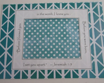 Teal Aqua Baby Ultrasound Frame Sonogram Frame Baby Announcement Grandparents Gift Baby Room Gender Neutral Jeremiah Bible Verse 5x7 Frame