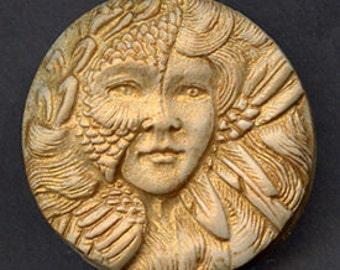 Polymer  Clay Gold Highlighted Art Nouveau Goddess Cab  GAN 2