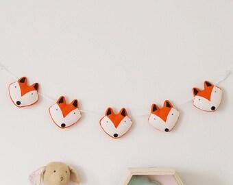 Fox Garland, Fox Nursery Decor, Fox Baby Bunting, Fox Wall Art, Woodland Nursery Decor, Woodland Animal, Fox Decoration, Boys Nursery Decor