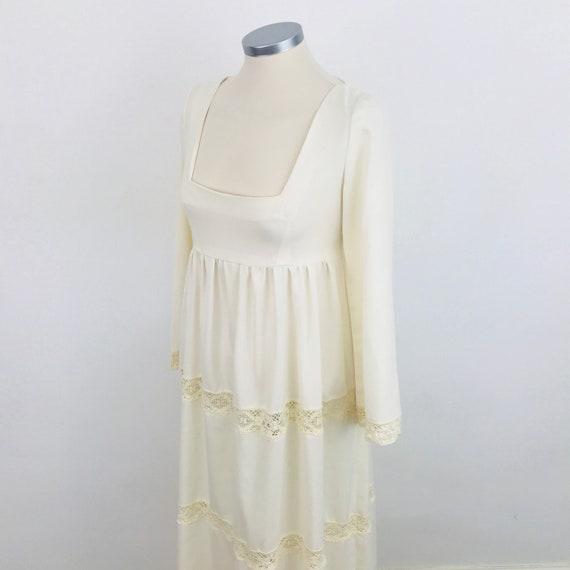 Vintage dress, maxi dress, 1970s, cream dress,  prairie, boho, 70s, crochet, tiered, bridal, wedding, UK 8, festival, long sleeves