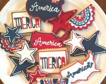 America Cookies | July 4th Cookies | Patriotic Cookies | Memorial Day Cookies | One Dozen