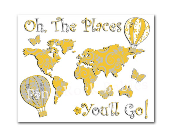 Oh the places you\'ll go world map yellow grey nursery