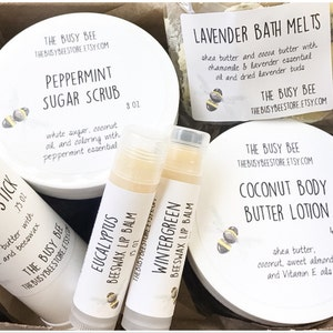 All Natural Spa Gift Set - Body Butter Lotion Lip Balms Bath Melts Bath and Beauty Products