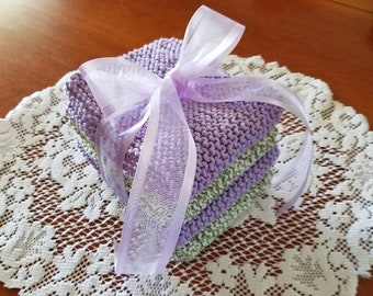 Knitted Spring Washcloth Set - Set of 4