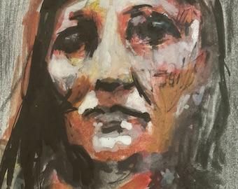 Portrait in gouache and graphite