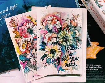 original inspirational quotes watercolor illustrations