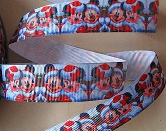 5 YDS Santa Mickey Mouse and Minnie Mouse Holiday Ribbon