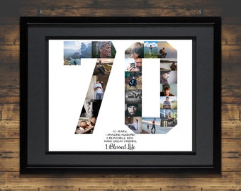 70th Birthday Photo Collage | 70th Birthday Gift | 70th Birthday Collage | 70th Birthday Gift for Mom | 70th Anniversary Photo Collage Gift