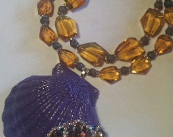 Mermaid Bejeweled Shell Statement Necklace Funky Purple Citrine Leopard Crystals Exotic Necklace Catwalk Couture WOW FACTOR Jawdrop Jewelry
