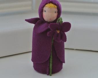 Violet fairy in Steiner Waldorf style