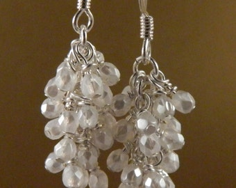 Pearl White Glass Cascade Dangle Earrings with Surgical Steel or Sterling Silver Ear Wires