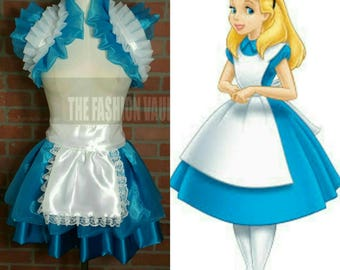 Frenchmaid Alice in wonderland dance costume apron skirt and shoulder collar shrug wrap accessory