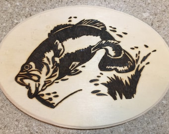 Bass woodburned wall hanging plaque