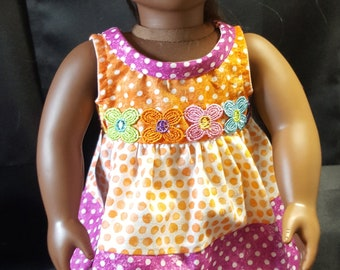 "18"" Doll Spring Dress in Polka Dots and Matching Hat!"