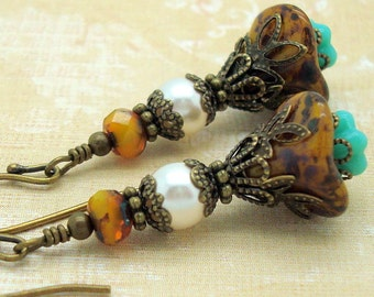 Victorian Earrings with Rustic Flower and Mustard Yellow and Turquoise Blue Glass Beads