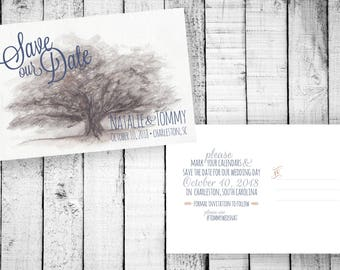 Watercolor Southern Oak Tree - Save the Date, Southern Save the Date Printable, Oak Tree Save the Date, Printable