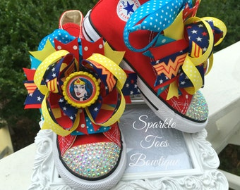WONDER WOMAN SHOES - Wonder woman Costume - Superhero Birthday - Girls costume - Crystals - Wonderwoman Bling Converse Halloween Costume
