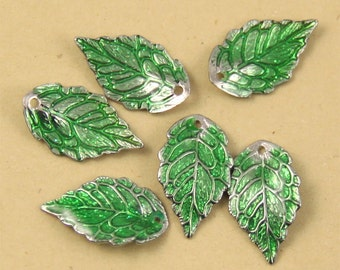 Clearance-8pcs Green Enamel Leaf Charm