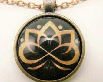 GOLDEN LOTUS Necklace -- Stylish design in gold and black, Spiritual geometry, Gift for him or her, Spiritual art