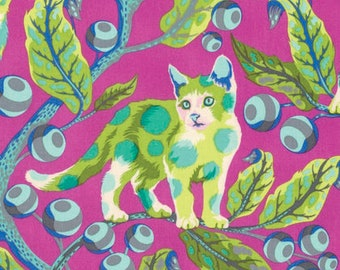 Tula Pink Tabby Road Disco Kitty in Berry Bird PWTP092.BERRY blue pink and green leaf cat cotton fabric yardage quilting cotton freespirit