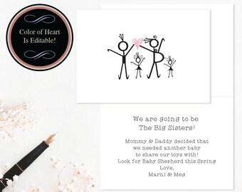 Printable Pregnancy Announcements, Pregnancy Announcements, DIY Pregnancy Cards, From Big Sisters Announcements, Printable PDF #NPPB25