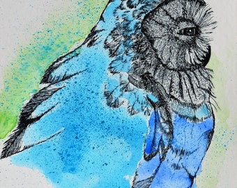 ORIGINAL, Watercolor Owl, Owl Painting, ORIGINAL Owl, Watercolor Painting, Bird Painting, ORIGINAL Bird Art, Owl Art, Blue, Green, Wildlife