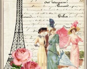 Vintage Roses in Paris Large digital download buy 3 get one free romantic cottage single image ECS