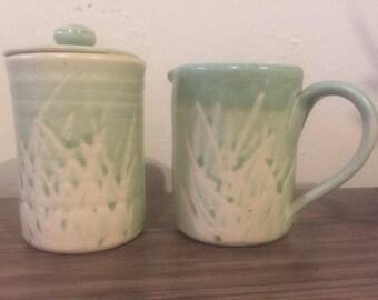 Vintage handmade ceramic sugar and creamer set