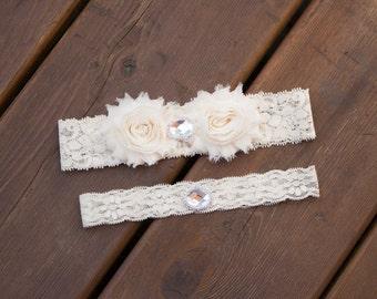 Rustic wedding Garter Set, Country wedding garter, Bridal Garter Set, flower, Vintage Garter Set, Shabby Chic Garter, Ivory Garter Set